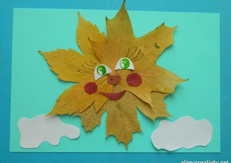 Аппликация Солнышко из осенних листьев