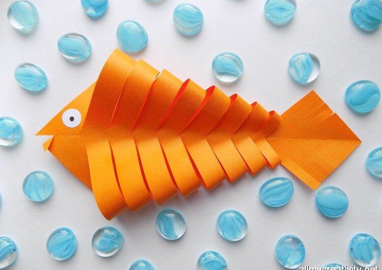 Золотая рыбка из бумаги