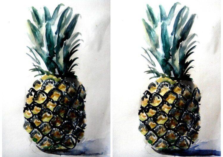 Как нарисовать ананас акварелью