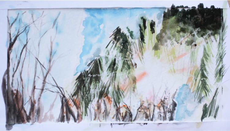 Акварельный рисунок Зимний лес